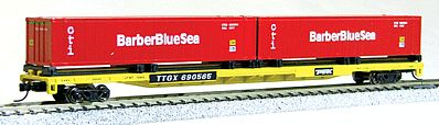 Con-Cor 89' TTX Flatcar with 2 Barber Blue Sea Containers -- N Scale Model Train Freight Car -- #14882