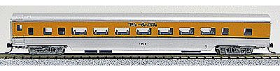 Con-Cor 85' Smooth-Side Coach Denver & Rio Grande -- N Scale Model Train Passenger Car -- #40033