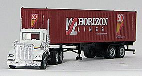 Con-Cor Freightliner with Container Horizon HO Scale Model Railroad Vehicle #4009615