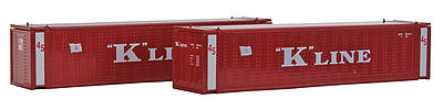 Con-Cor 45' Container K-Line red (2) -- N Scale Model Train Freight Car Load -- #444010