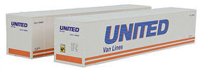 Con-Cor 48 Container United Van #2 (2) HO Scale Model Train Freight Car Load #485502