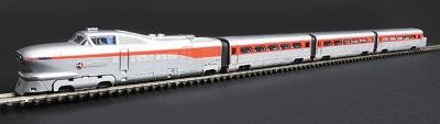 Con-Cor AeroTrain 3-Car Train-Only Set Standard DC Santa Fe ''The San Diegan'' 1956 -- N Scale -- #8765