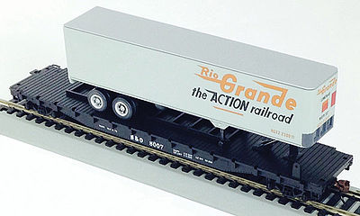 Con-Cor 54' Flatcar with Trailer Baltimore & Ohio -- HO Scale Model Train Freight Car -- #9429
