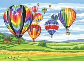 Colart Hot Air Balloons Acrylic Paint by Number 11.5x15.5 Paint By Number Kit #13155
