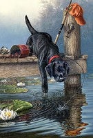 Colart Labrador Dog on Dock/Lake Acrylic Paint by Number 9x12 (Replaces #78024)