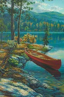 Colart Time Well Spent Canoe by River Acrylic Paint by Number 9x12(replaces #78026)