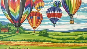 Colart Hot Air Balloons Acrylic Paint by Number 11.5x15.5 (Replaces #13155)