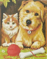 Colart Just Good Friends (Cat & Dog) Acrylic Paint by Number 9x12 (Replaces #91212)