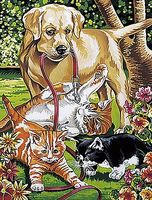 Colart Dog & Kittens Acrylic Paint by Number 9x12 Paint By Number Kit #91226