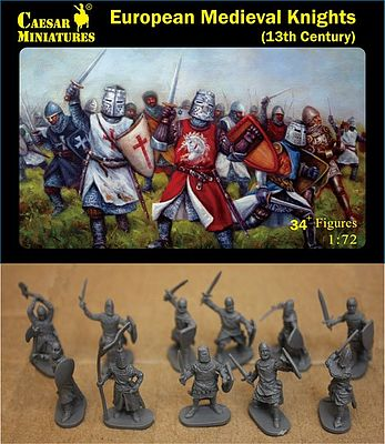 Caesar Miniatures Figures 13th Century European Medieval Knights (34+) -- Plastic Model Military Figure -- 1/72 Scale -- #87