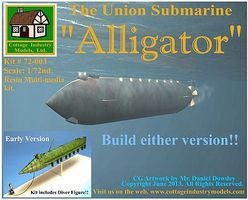 Cottage Alligator The Union Submarine Plastic Model Submarine Kit 1/72 Scale #72003