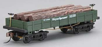 Mantua by Model Power 1860 Log Car Wooden Vintage Freight Weyerhaeuser