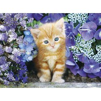 Creative Ginger Cat in Flowers 500pcs Puzzle 0-500 Piece #30415