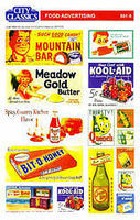 City-Classics Food Advertising set of signs HO Scale Model Railroad Building Accessory #508