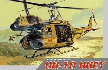 Dragon Models UH-1D Huey with 4 Crewmen -- Plastic Model Helicopter Kit -- 1/35 Scale -- #3538