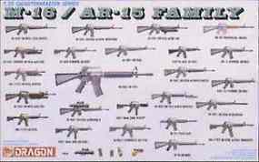 DML M-16/AR-15 Family Plastic Model Military Weapons Kit 1/35 Scale #3801
