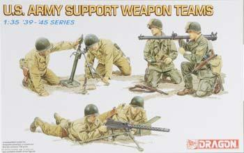 Dragon Models US Army Support Weapon Teams (6) -- Plastic Model Military Figure Kit -- 1/35 Scale -- #6198