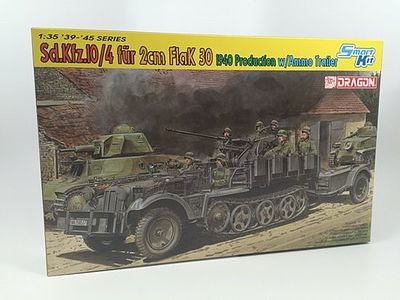 Dragon Models SdKfz 10/4 with 2cm Mod 1940 Flak 30 Gun -- Plastic Model Military Vehicle Kit -- 1/35 Scale -- #671