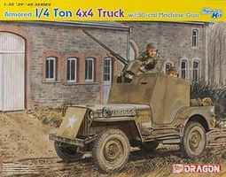 DML 1/4 Ton Armored 4x4 Truck w/.50-cal Machine Plastic Model Armored Truck Kit 1/35 #6714