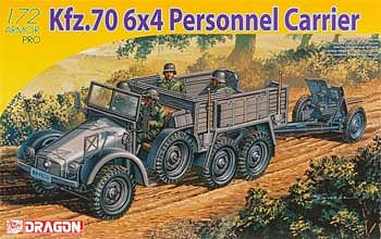 Dragon Models Kfz 70 6x4 Personnel Carrier & 3.7cm PaK 35/36 -- Plastic Model Military Vehicle -- 1/72 -- #7377