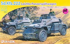 DML SD.KFZ.222 Leichte Panzerspahwagen Plastic Model Military Vehicle Kit 1/72 Scale #7393