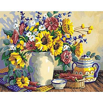 Dimensions Sun Flowers Still Life -- Paint By Number Kit -- #91108