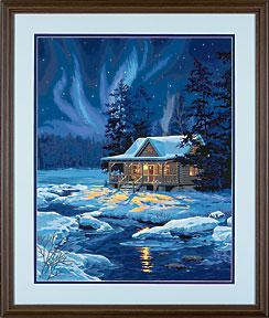 Dimensions Moonlit Cabin -- Paint By Number Kit -- #91223