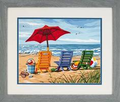 Dimensions Beach Chair Trio Paint By Number Kit #91316