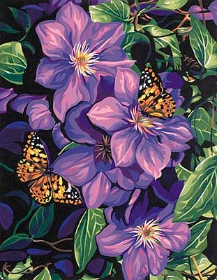 Dimensions Clematis & Butterflies -- Paint By Number Kit -- #91403