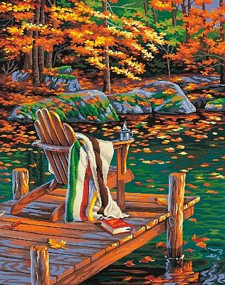 Dimensions Golden Pond (Chair on Dock/Autumn Scene) -- Paint By Number Kit -- #91468
