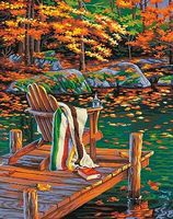 Dimensions Golden Pond (Chair on Dock/Autumn Scene) Paint By Number Kit #91468