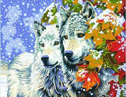 Dimensions Early Snow (Wolves) Paint By Number Kit #91489