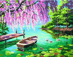 Dimensions Willow Spring Beauty (Rowboat/Pond) Paint By Number Kit #91491