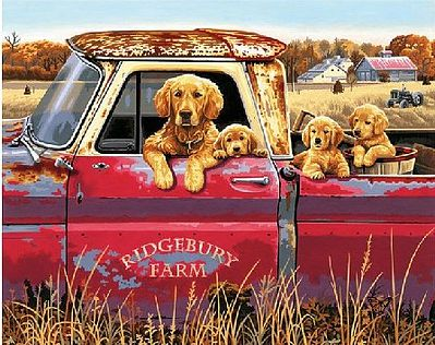 Dimensions Golden Ride (Dogs in Pickup Truck) -- Paint By Number Kit -- #91525