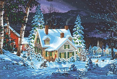 Dimensions Winter's Hush (House, Night/Snow Scene Paint by Number (20''x14'')