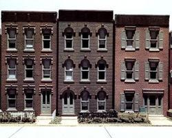Design-Preservation Townhouse Flats/3 Fronts Kit HO Scale Model Railroad Building #woo11400
