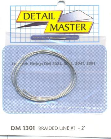 Detail Master 2ft. Braided Line #1 (.020'') -- Plastic Model Vehicle Accessory Kit -- 1/24-1/25 Scale -- #1301
