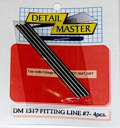 Detail Master Fitting Line #7 .100'' (4pc) -- Plastic Model Vehicle Accessory Kit -- 1/24-1/25 Scale -- #1317