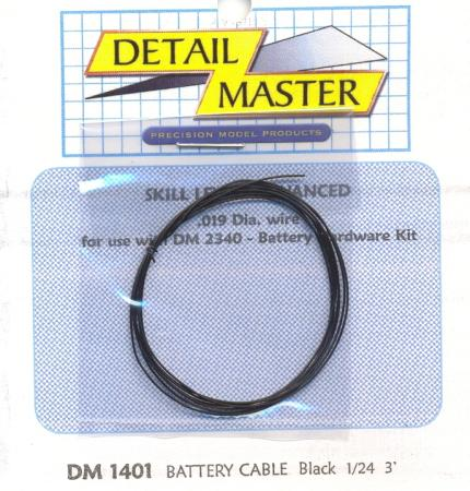 Detail Master 2ft. Battery Cable Black -- Plastic Model Vehicle Accessory Kit -- 1/24-1/25 Scale -- #1401