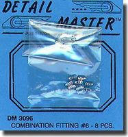Detail-Master Combination Fitting #6 (8pc) Plastic Model Vehicle Accessory Kit 1/24-1/25 Scale #3096