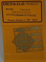 Details-West Cab Sun Visors w/Etched Brass Tracks (4) HO Scale Miscellaneous Train Part #365