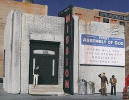 Downtown-Deco Rescue Mission Kit HO Scale Model Railroad Building #1034