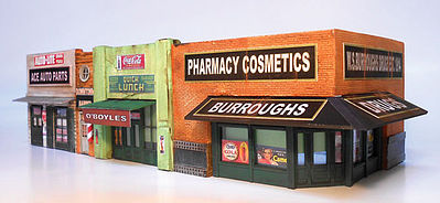 Downtown Deco Classic American Block Cast-Hydrocal Kit -- HO Scale Model Railroad Building -- #1062