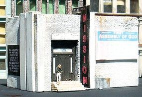 Downtown-Deco 1st Street Rescue Mission Kit N Scale Model Railroad Building #2016