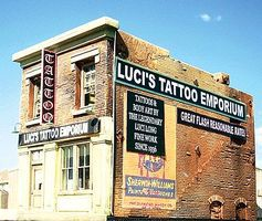 Downtown-Deco Lucis Tattoo Emporium Kit O Scale Model Railroad Building #49