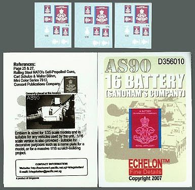 Echelon Decals & 1/16 AS90 16 Battery Sandham's Co. (D) -- Plastic Model Military Decal -- 1/35 -- #356010