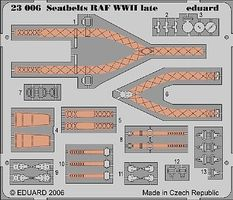 Eduard-Models Aircraft Seatbelts RAF WWII Late (Painted) Plastic Model Aircraft Decal 1/24 Scale #23006