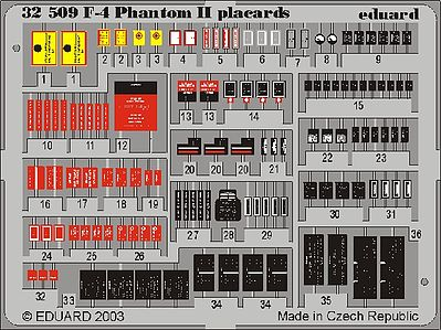 Eduard Models F4 Phantom II Placards Set -- Plastic Model Aircraft Accessory -- 1/32 Scale -- #32509