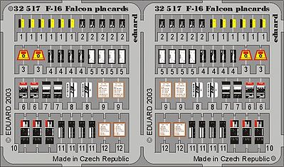 Eduard Models F16 Falcon Placards for Hasegawa -- Plastic Model Aircraft Accessory -- 1/32 Scale -- #32517