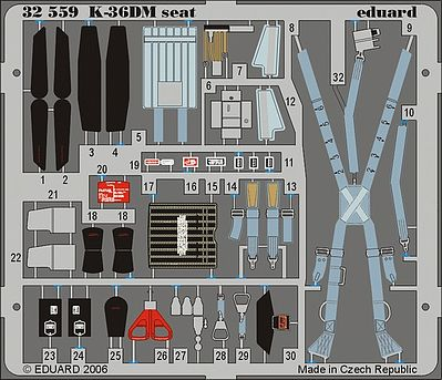 Eduard Models Aircraft- Mig29 Fulcrum K36DM Seat -- Plastic Model Aircraft Accessory -- 1/32 Scale -- #32559